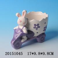 Fabulous design ceramic flower planter,cute flower pot with rabbit figurine