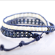 2019 wholesale fashion jewelry 4mm natural lapis lazuli leather wrap double bracelets bangles