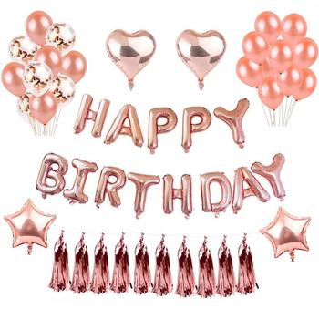 Happy Birthday Party Decorations For Women Rose Gold Supplies Banner Balloons