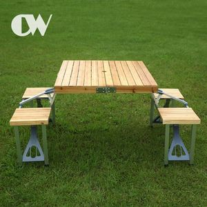 factory wholesale online aluminum outdoor camping picnic 4 seat lightweight antique wooden folding table