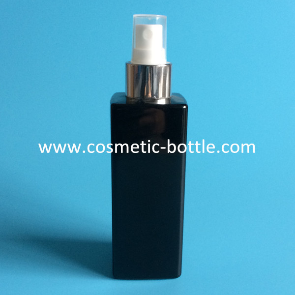 200ml opaque black square PET bottle plastic bottle wih mist spray pump