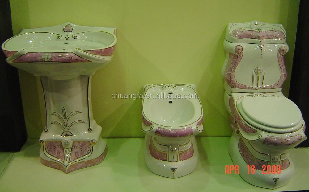 Bagno design decorato due pezzi tazza del water suite con colore su