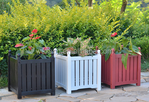 Lexington Wooden Planter Boxes Stain Red Patio Flower Planters