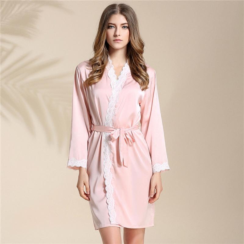 2a17b2222 2019 Wholesale 2017 New Kimonos Women Sexy Nightwear Faux Silk Robe ...
