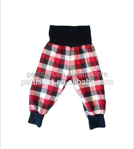 Boy boutique pants leggings for kids baby flannel harem pants children's black red buffalo plaid trousers