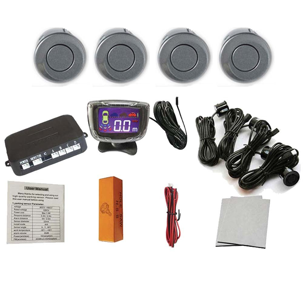 Eaglerich 4 Sensors 22mm Buzzer LCD Parking Sensor Kit Display Car Reverse Backup Radar Monitor System 12V-Gray