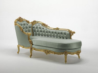 European Palace Royal Chair, Luxury Design Comfortable Gold Trim with Flower Carved Chaise Lounge