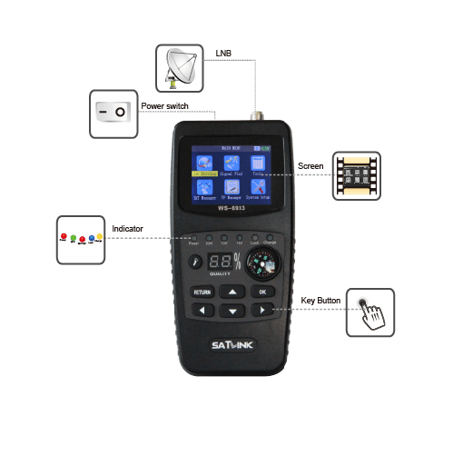 satlink ws 6933 digital satellite finder dish HD MPEG-4 digital signal sat finder DVB s2 meter lcd display WS 6933