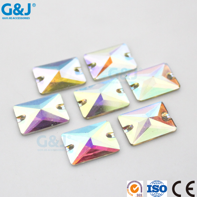 Guojie wholesalw custom crystal ab color rectangle shape resin flat back stone for shoes resin bead