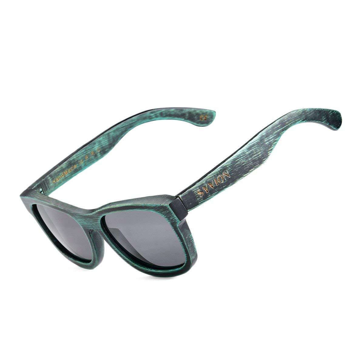 146da3835526 Get Quotations · SYVION Polarized Wood Sunglasses For Mens Womens Handmade  Vintage Bamboo Frame