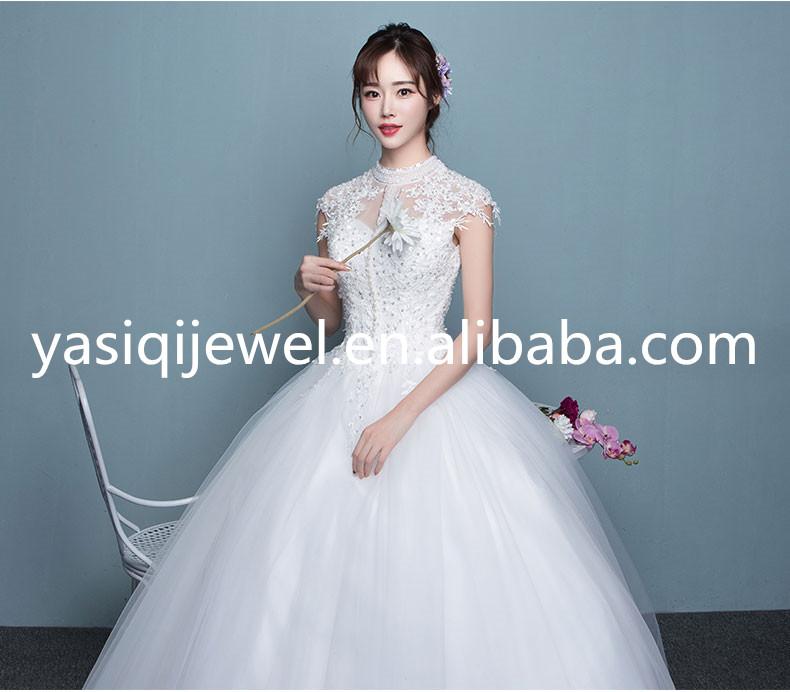 Custom-made Short Sleeve High-necked New Design Pure White Wedding ...