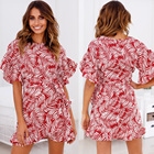 Women short sleeve leaves print ruffle wrap dresses from clothing factory