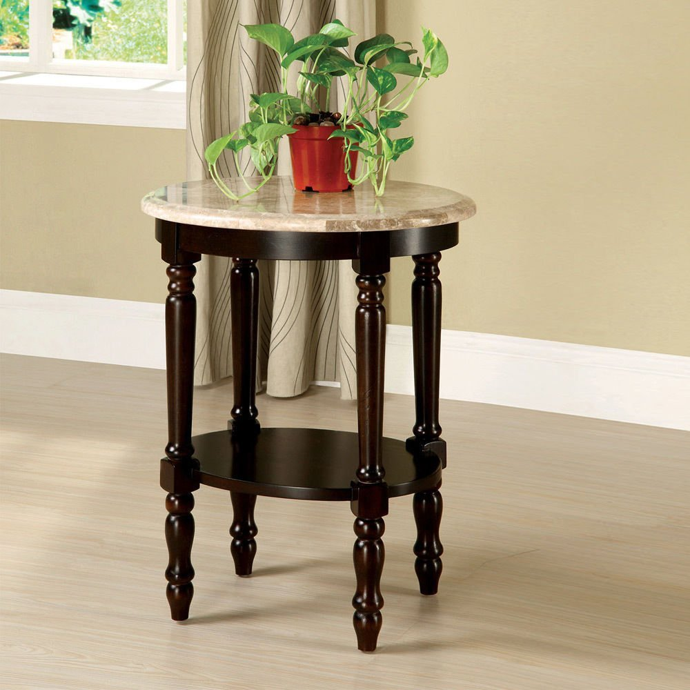 Get Quotations · 1PerfectChoice Santa Clarita Oval Marble Top Side Plant  Stand Shelf Solid Wood Dark Cherry