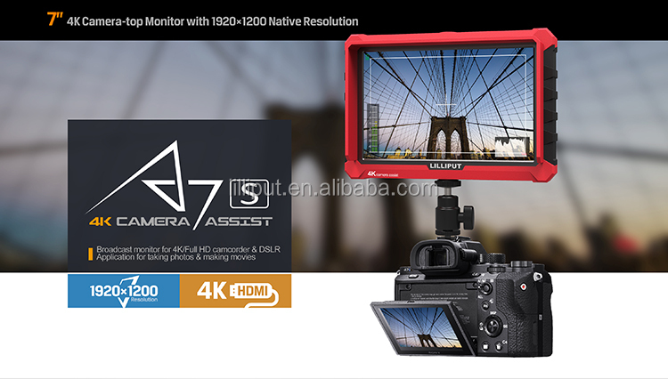 "Lilliput NEW A7S 7"" 4K monitor with 1920*1200 Native Resolution for Full HD Camera"