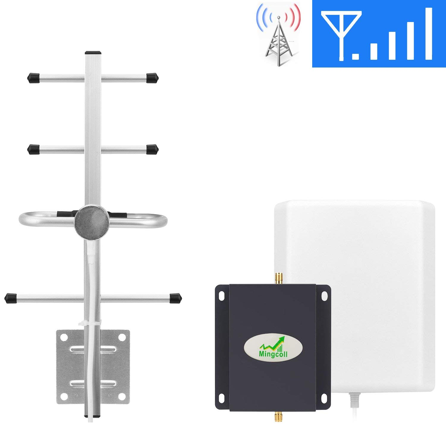 Mobile Cell Phone Signal Booster Verizon 700Mhz Band 13 Cell Signal Booster Amplifier Mingcoll 4G LTE FDD Cellular Signal Repeater Booster Home Office (BV70-S8W)