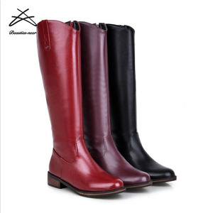 Wholesale China Rubber Sole High Quality Black Riding Boots Women 2018
