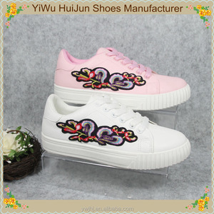 2017 new style hot sale most popular embroidered fashion casual women white platforms shoes
