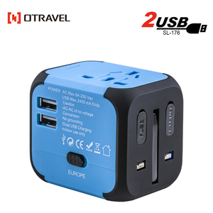 Travel agency/hotel guest gifts Dual USB AU/UK/US/EU Universal Travel AC Power Charger SL-176 Adapter Plug Converter