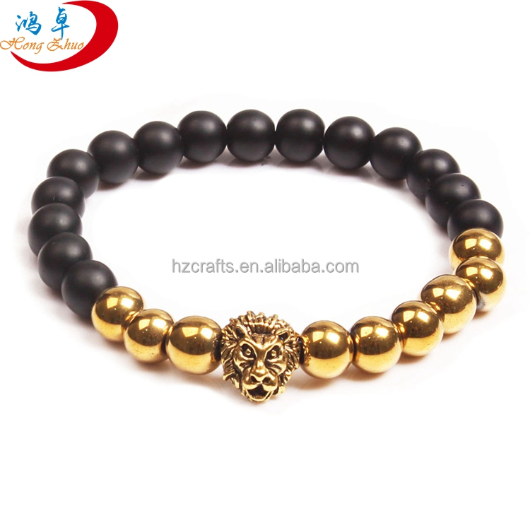 Fashion black lava volcanic stone lion head bracelet
