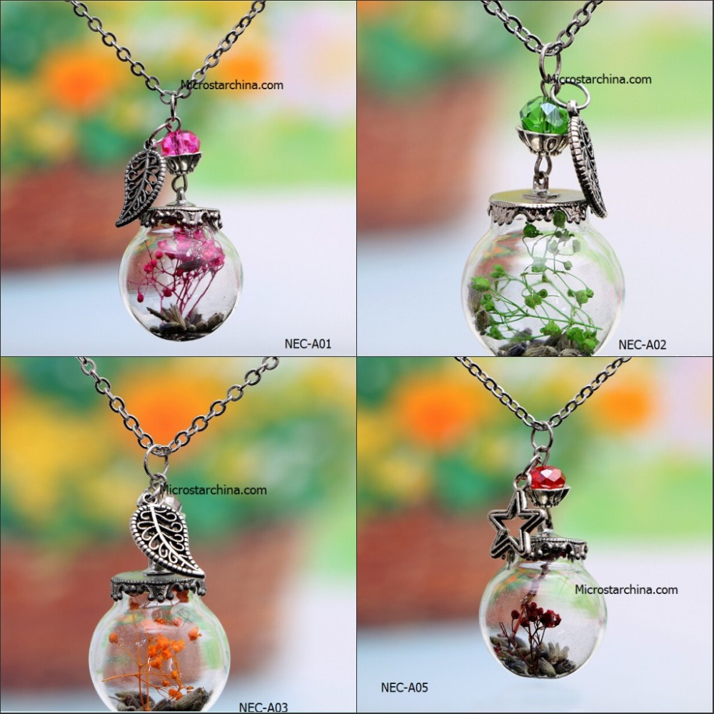 2016 high quality best selling handmade DIY women fashion charm bottle natural dried flower pendant necklace for best friends