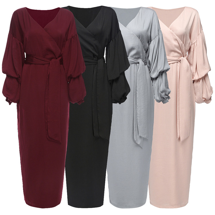 Professional Factory Supply Turkish Clothes Pink Soft Crepe In Stock Dubai Fabric Wrinkle Dresses Long-sleeved Splicing Dress