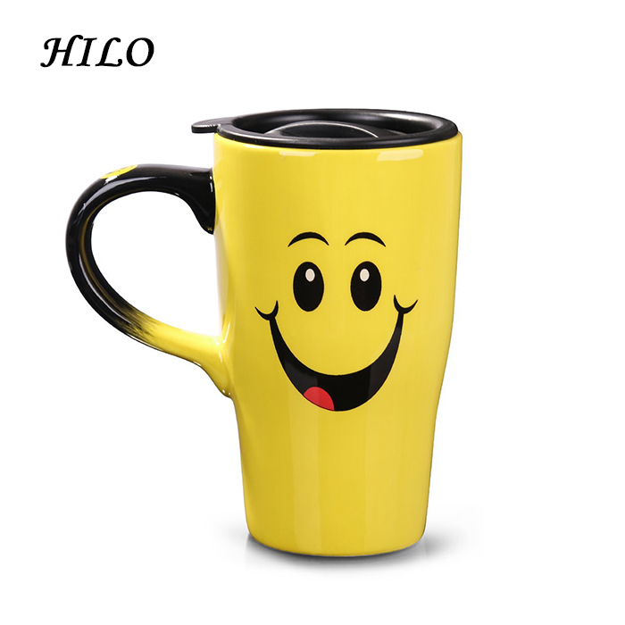 17oz Yellow Smile Face Ceramic Travel Coffee Mug with Lid