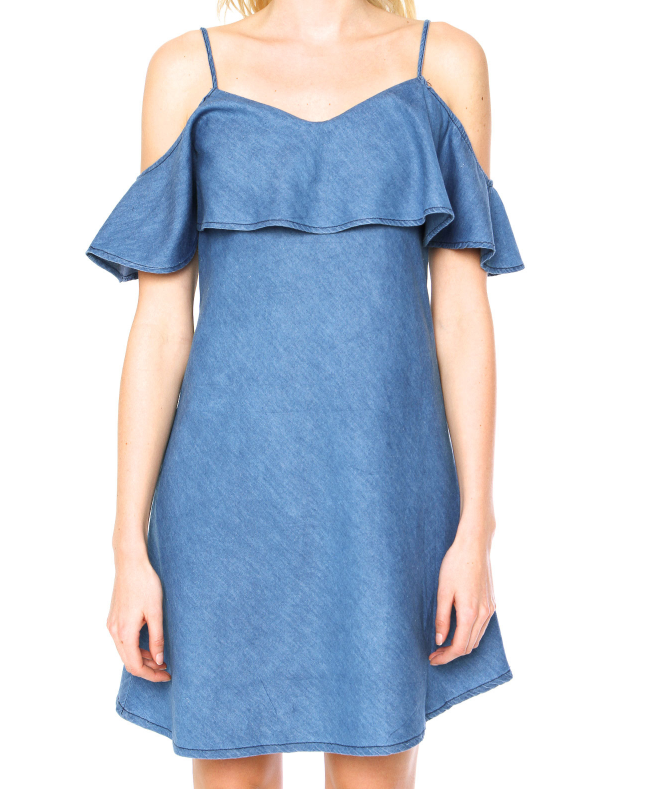 Fashion off-shoulder lotus sleeve demin dress