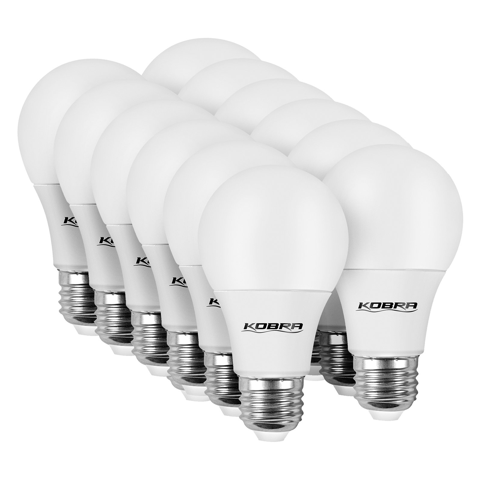 KOBRA [12-Pack] LED Light Bulbs - Dimmable 7W (60 Watt Equivalent) A19 Soft White Bulb [3000K] E26 Base
