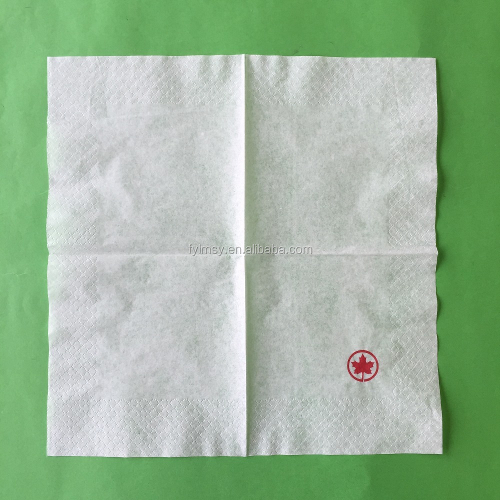 25x25cm 1ply 19gsm 1/4fold white printed napkin paper with custom logo