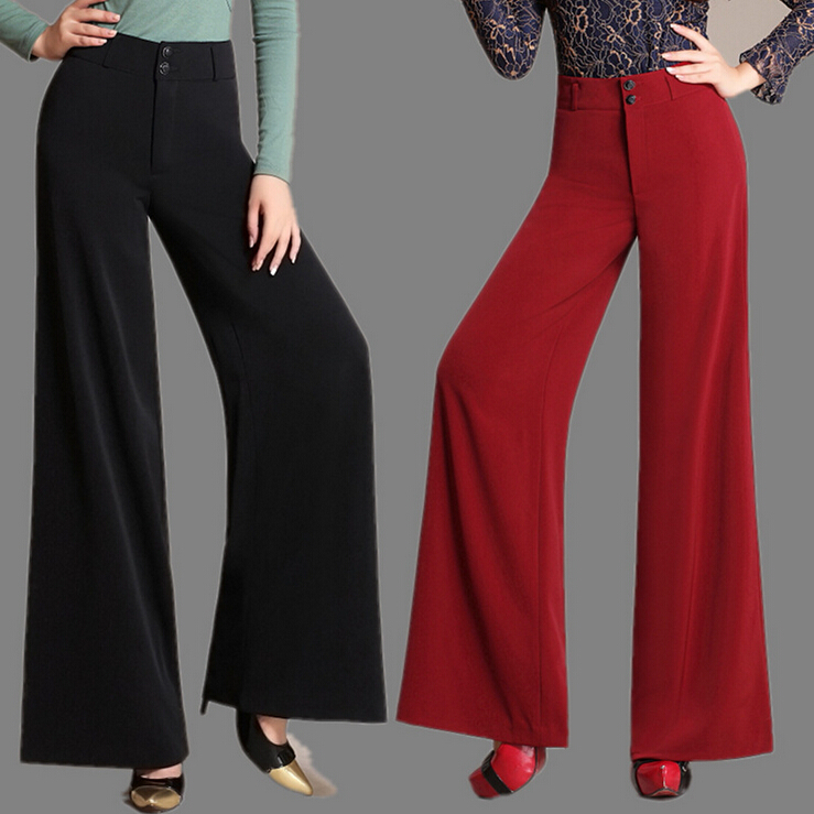 Autumn women's wide leg dress pants loose trousers baggy ...