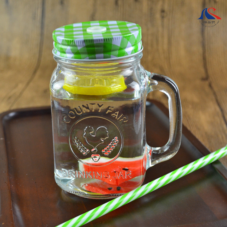 Custom Embossed 500ML ice Cold Drink Glass Mason Jar with Handle
