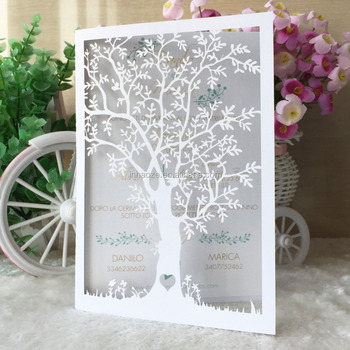 Customized Tiffany Blue Dark Gold White New Style Romantic Tree Shape Wedding Invitation Card Envelope And Printing Inner Page Buy Many Kinds Of Laser Cut Invitation Cards For Your Choose Many Colors And Patterns