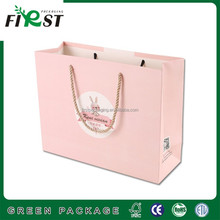 Pinky luxury Custom shopping recyclable gift paper bag with twist handle store industrial
