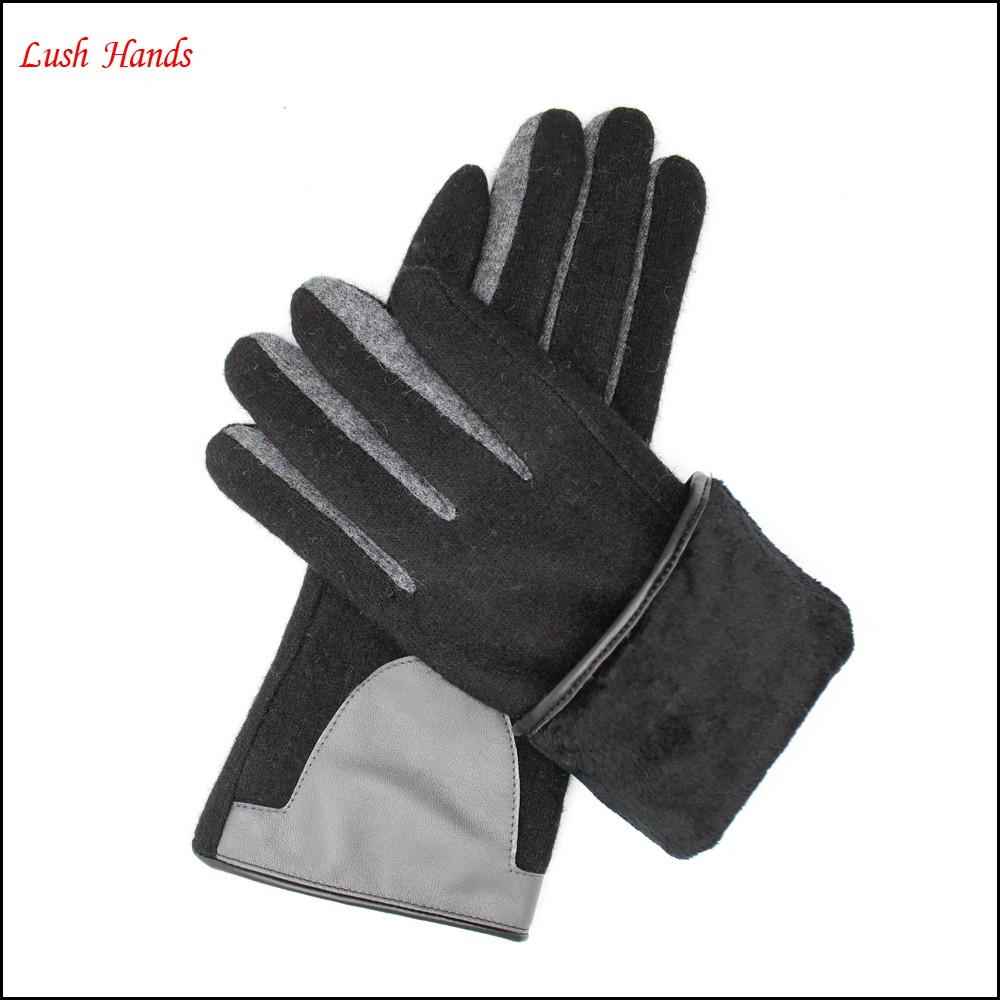 ladies high-quality woolen gloves lining with polyester