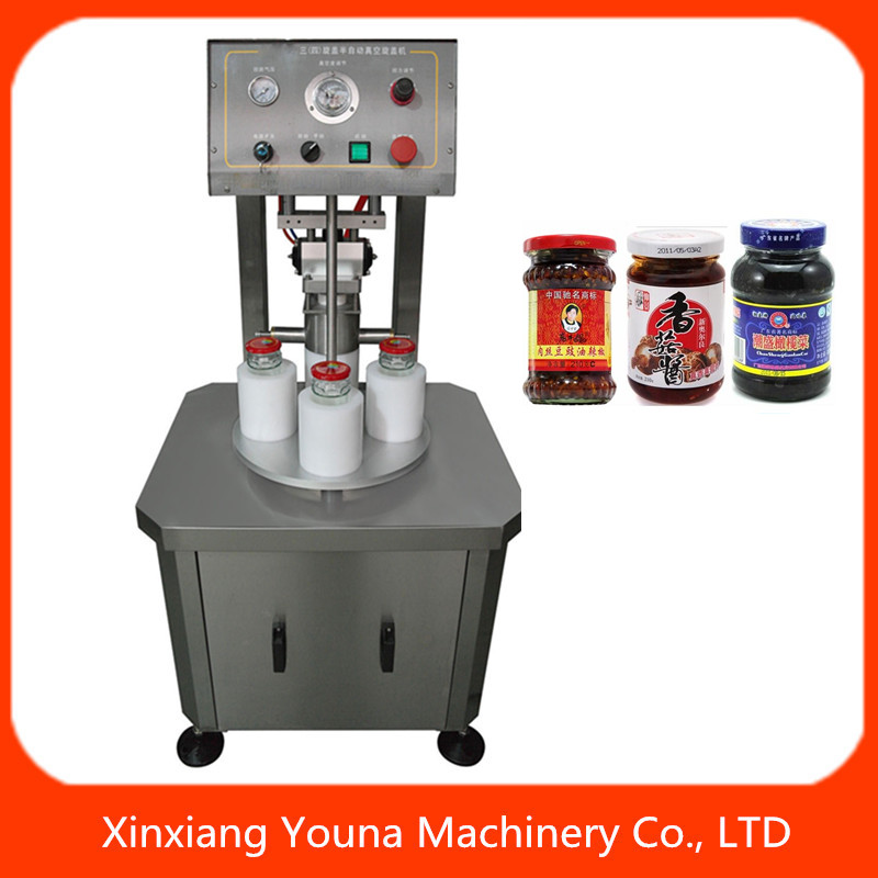 good quality semi automatic glass jar vacuum capping machine
