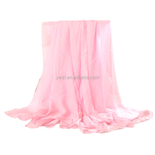 2017 women accessories china plain polyester charmeuse Imitation silk scarf for women