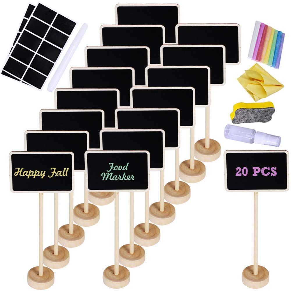 Supla 20 Pcs Mini Chalkboard Tabletop Signs with Stand Place Holders Party Wedding Message Memo Note Board Buffet Table Number Name Plant Signs Candy Bar Food Dessert Markers Table Setting Signs