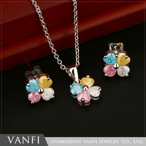 Necklace and earring fine copper colorful crystal jewellery for girls