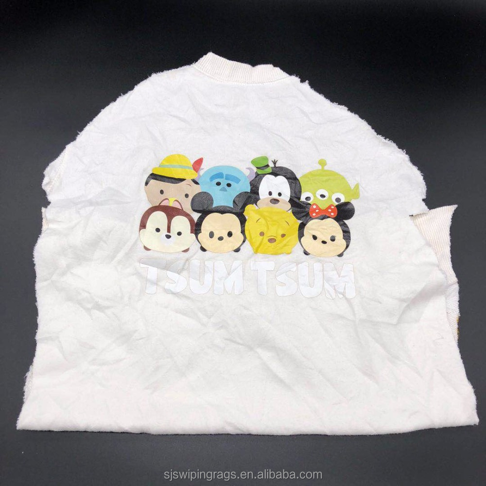 Recycled white cotton wiping rags with logo