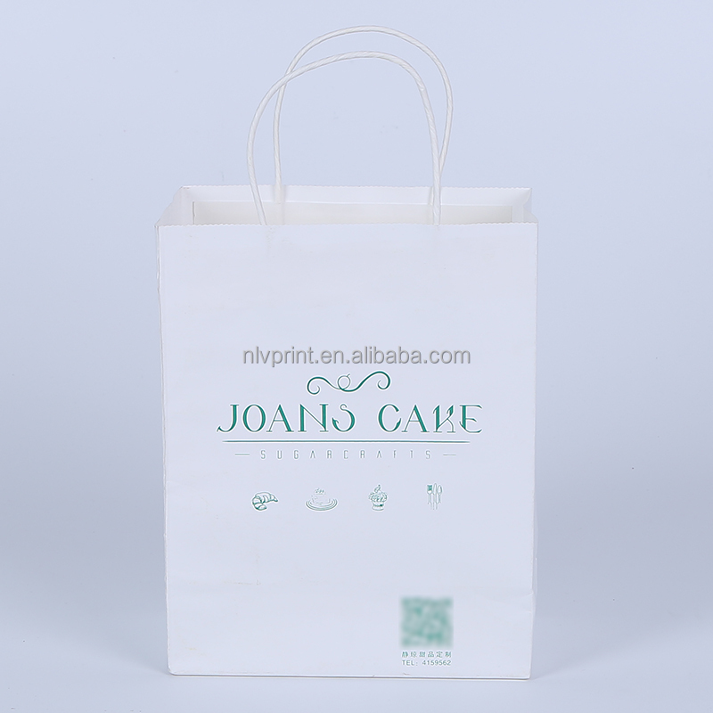 Large Quantity Cheap Customized White Kraft Paper Bag With Twist Handle