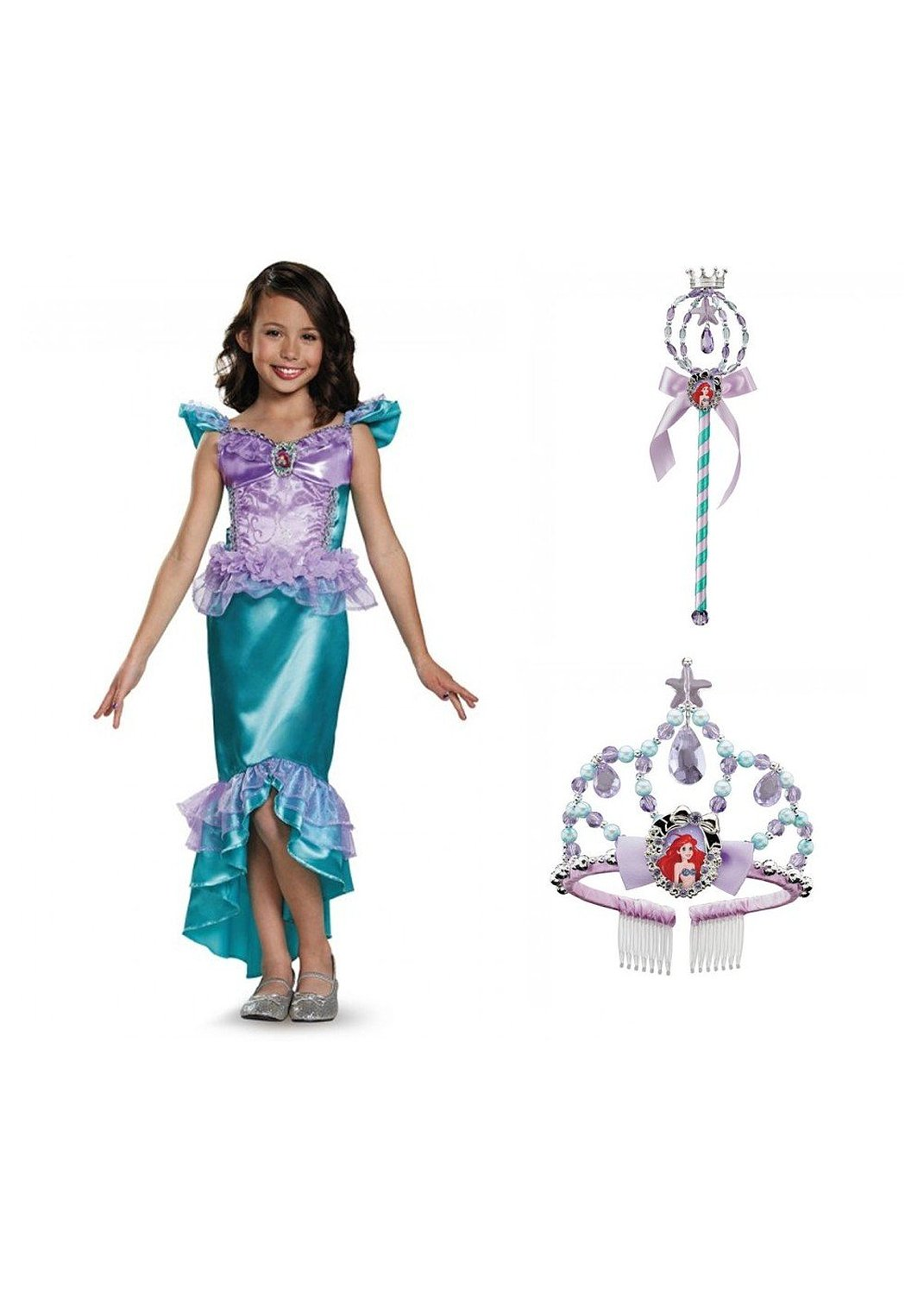 Disney Princess Ariel Girls Dress Wand and Tiara Kit