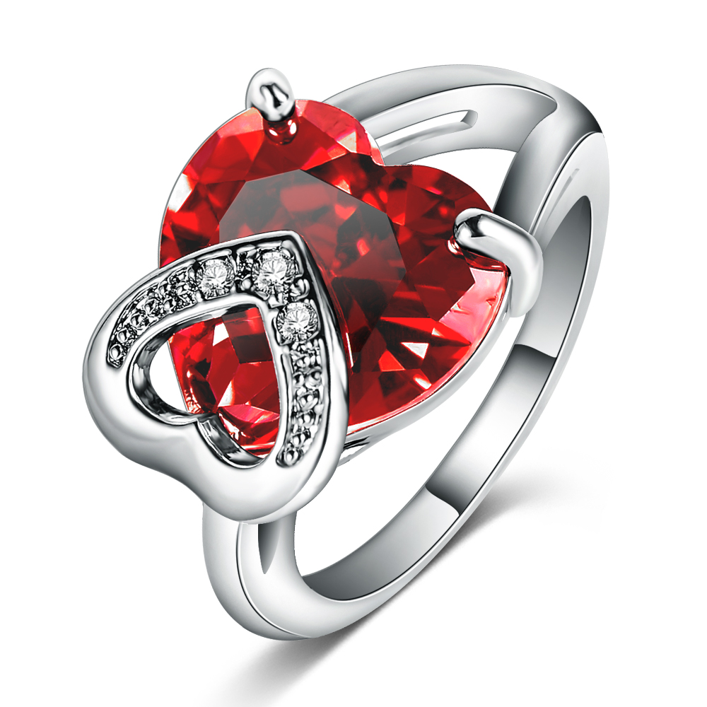 Romantic Christmas Love Gift Female Ring Fashion Accessories Real Platinum Plated Heart Shaped Cut Ruby Ring
