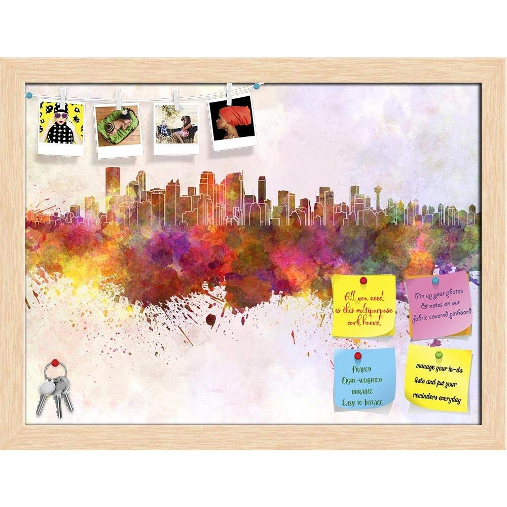 ArtzFolio Calgary Skyline, Alberta City, Canada Printed Bulletin Board Notice Pin Board Cum Natural Brown Framed Painting 15.7 x 12inch