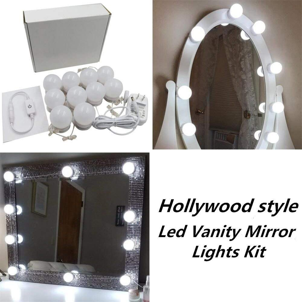 Hollywood Style LED Vanity Makeup Mirror Lights Kit with 10 Dimmable Bulbs,Lighting Fixture Strip for Makeup Vanity Table Set in Dressing Room(Mirror Not Included) (10 Bulbs Kit)