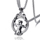 Europe and the United States charm titanium steel mirror image skeleton man pendant stainless steel retro magic mirror necklace