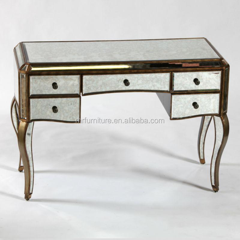 MR 4T0093M Antique Gold Distressed Tri Fold Table Mirror