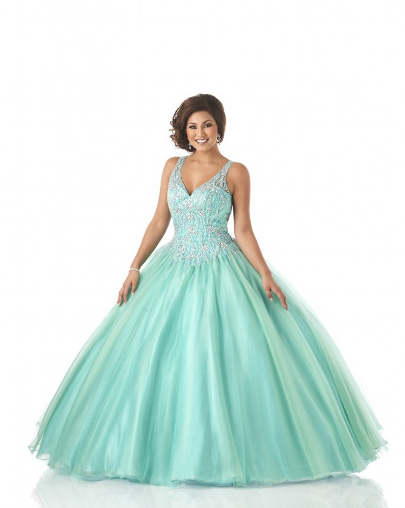 8282c6d8cf1 Get Quotations · Fast Shipping Ball Gown Mint Green Quinceanera Dresses  Sexy V Neck Organza Ruffled Sweet 16 Dresses