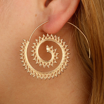 Gold Bali Designs Round Spiral Tassle Earrings Gold Jhumka Earring
