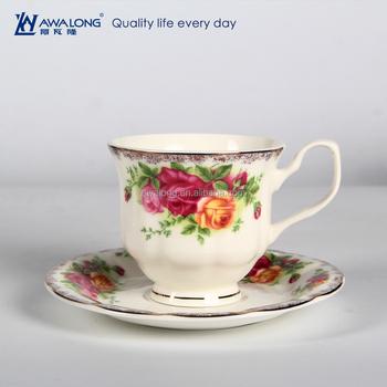 Bone China British Tea Cups Saucers Sets Pretty Fl Elegant Cup Plate Set