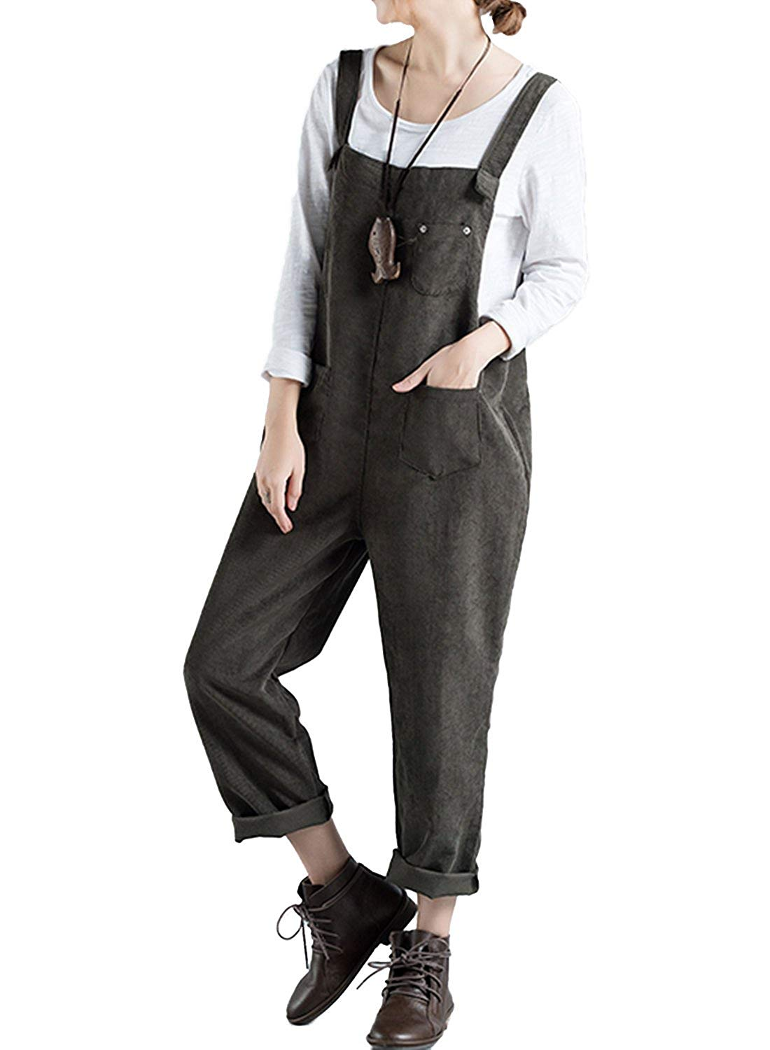 b8fe1beb00f Get Quotations · LEO BON Womens Soild Color Simple Pattern Overalls  Jumpsuits Work Utility Coveralls